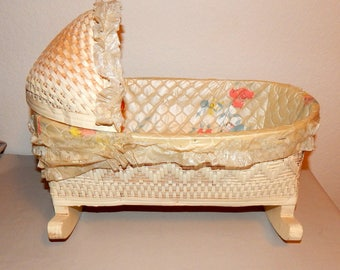 Vintage, 1940's Doll Cradle, Wicker w/Plastic Lining, Very Good Condition
