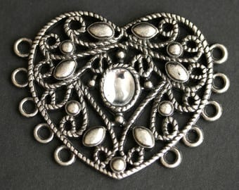 Large Heart Connector. Filigree Connector with Clear Cabochon Center. Art Nouveau Recycled Vintage Findings. Unique Findings. 45mm x 58mm