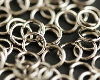 5mm Rhodium Plated Silver Jump Rings. 21 Gauge. 4 grams. Silver Jumprings.