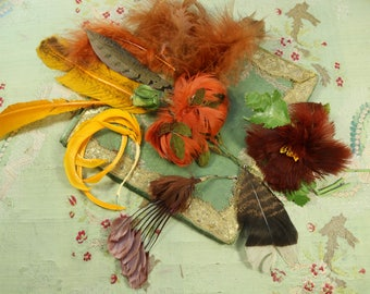 Antique vintage lot curled millinery feather copper brown warm shades cloche hat 1920s flapper mink edwardian victorian hat trim