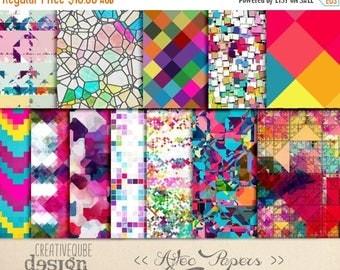 80% Off SALE Digital Paper - Aztec Tribal, Triangular Backgrounds, Digital Scrapbook Paper, Geometric Clip Art, Graphics
