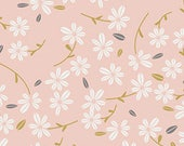 Pink White Gold and Grey Floral Jersey Knit, Little Town by Amy Sinibaldi For Art Gallery Fabrics, Season in Waltz, 1 Yard