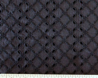 Tonal Black Diamond Eyelet Woven Cotton, 1 Yard