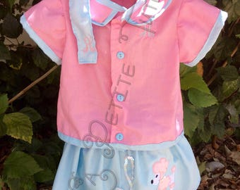 Custom 50's poodle outfit, custom, handmade, poodle skirt, halloween costume, dress up, cotton dress, cotton shirt, cotton skirt, fun