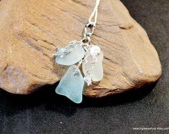 Sea Glass Necklace -Starfish Necklace -  Coastal Jewelry - Gift for Her - Lake Erie Beach Glass Jewelry -  FREE Shipping inside the US