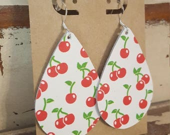 Leather Earrings, Leather Jewelry, Cherries, Cherry, Red, White, Statement Earrings, 100% Leather, Tear Drop, Lightweight-Limited