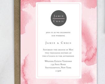 Watercolor Wedding Invitation template, Watercolor Wedding Invite, Watercolor Invites, Printable, print at home