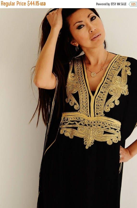 25% OFF Autumn Sale// Kaftan Black with Gold Marrakech Resort Caftan Kaftan -  beach cover ups, resortwear,loungewear, maxi dresses, birthda