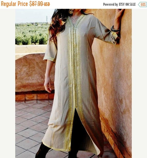 20% OFF Winter Sale// Summer Kaftan Beige with Golden Embroidery Caftan- Naima-loungewear,resortwear,for Birthdays,Honeymoon, maternity gift