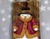 "Crabapple Snowman, on authentic barnwood, hand painted, original art, 5 1/4"" x 9 1/2"""