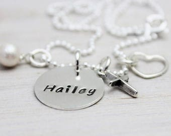 """custom stamped one name tag cross necklace . push present gift for new mom . teen gift . baptism gift . cross charm Christian jewelry 5/8"""""""