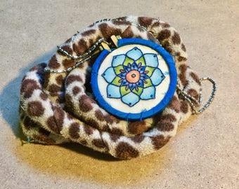 Blue Mandala Watercolor and Hand Embroidered Mini Hoop Art Pendant