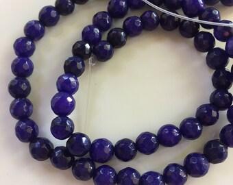 6mm JADE Beads in Dark Purple Blue, Faceted, Round, 1 Strand, 61 Beads, Semi Translucent Gemstones Beads, Purple Stone Beads