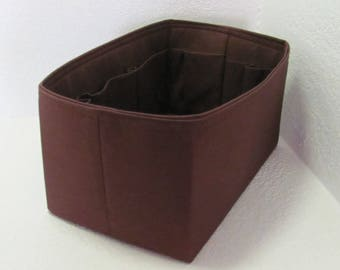 Ready to Ship ..Tall (13x7x7) Chocolate Brown  .... Purse Insert ORGANIZER . . Strong and Durable - ) #3b
