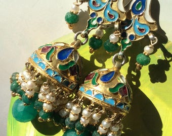 FREE SHIPPING  KREMLIN Earring  sterling enameled antique ancient inspired emerald silver