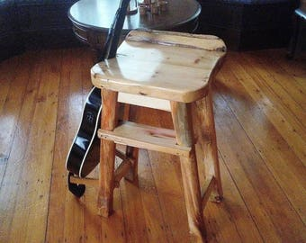 Right Handed Guitar Players Stool made from 19th Century Reclaimed Barnbeams