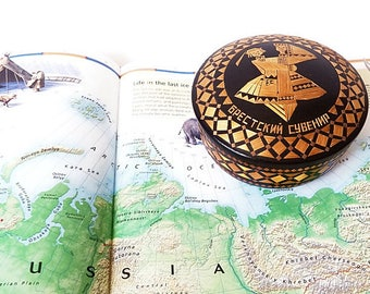 Vintage Ukrainian Wood Trinket Box/ Rare Straw Inlay Marquetry Jewelry Box/ Russian Folk Art Lacquered Box / USSR