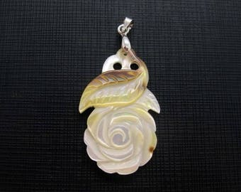 Beautiful Carved White Mother of Pearl Shell Flower Leaf Pendant