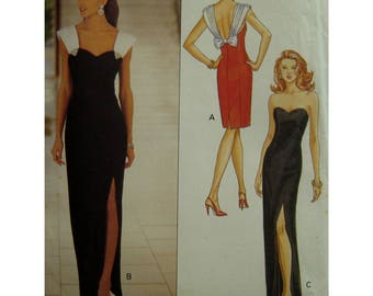 Strapless Evening Gown Pattern, Side Slit, Heart Shaped Bodice, Lined, Boned, Low Back, Bias Straps, Butterick No. 6702 UNCUT Size 12 14 16