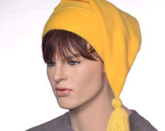 Elf Hat Made of Bright Bold Yellow Fleece Stocking Cap Hand Tied Short Tassel Pointed Hat