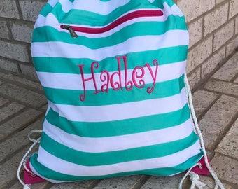 Teal Stripe Drawstring Bag - Small Backpack - Monogram Bag - Personalized Kids Bag - Sport Bag - Dance Bag - Personalized Backpack