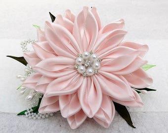 Soft Pink Kanzashi Ribbon Flower Hair Accessories Bridal Flower Hairclip