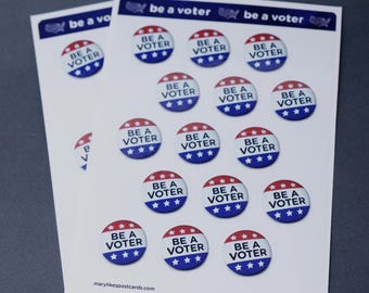 Be a Voter! Political stickers for your postcards and scrapbooking, perfect for writing to your reps or get out the vote
