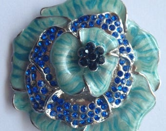 ON SALE Vintage Large Blue Enamel and Rhinestone Flower Brooch