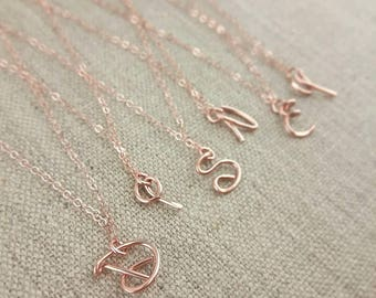 Disney Initial Necklace, Rose Gold Initial Pendant, Disney Jewelry Gifts for Adults, Disney Style Font, Disney Font  Necklace, Monogram Gift