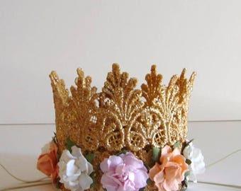 1st Birthday Crown - Gold Baby Birthday Crown - Pink Peach Ivory Flowers - First Birthday Crown - Baby Crown Headband - Princess Crown