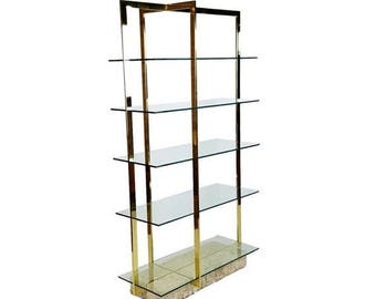 SUMMER SALE Brass Etagere with Faux Tesselated Marble Base