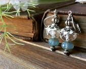 beaded earrings - beaded jewelry, lantern earrings, clear, baby blue earrings, something blue for bride, paper flowers, book page earrings