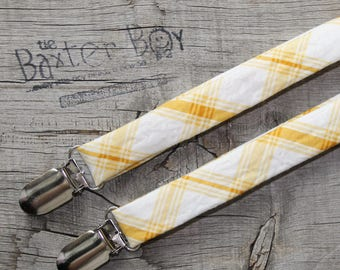 Golden yellow diagonal plaid suspenders for little boys - photo prop, wedding, ring bearer, accessory, holiday