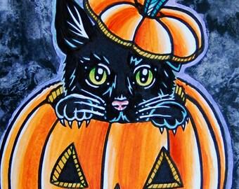 ORIGINAL Painting - ooak Tattoo Flash Cute Halloween Jackolantern Black Cat Illustration