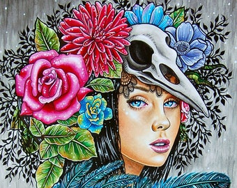 ORIGINAL 14x17 in. Watercolor Painting - Fade Away - Pretty Lowbrow Girl With Skeleton Ribcage Bird Skull and Feathers