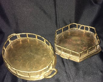 Faux Bamboo Brass Oval Tray 10 inches