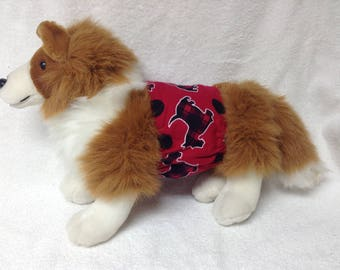 Male Dog Belly Band Diaper Panties Pet Doggie Wrap Pants Scottish Terrier Scottie On Cotton Flannel Custom Sizes To 30 Inches