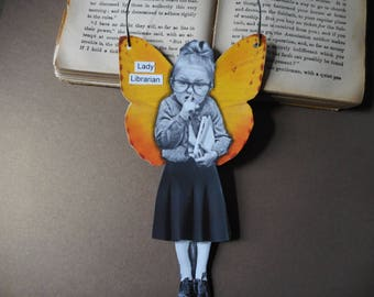 Lady Librarian hanging angel fairy altered photo vintage photo mixed media