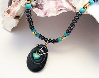 Hemetite and Turquoise Necklace