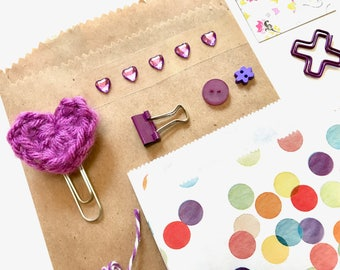 Purple Crochet Heart, Tag and Embellishments, Kit Collection, Heart Stickers, Planner Supplies, Filofax, Ephemera, Paper Clips, Purple Lilac