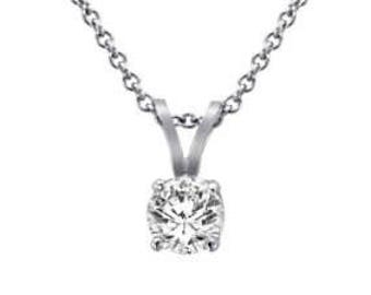14k white gold 0.20ct round cut diamond prong set solitaire necklace and chain
