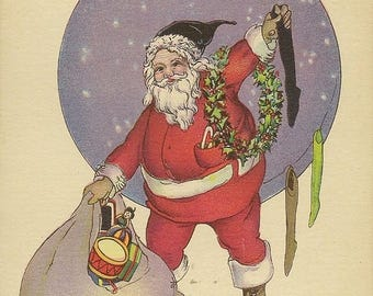 Fun Stecher Litho Santa Claus Hangs and Fills Stockings Vintage Christmas Postcard Series 745E