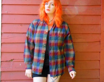 70s Pendleton Plaid Wool Flannel Sleeve Patch Multi Colored Hipster Lumberjack Grunge Button Up XL