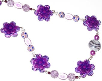 Sparkling purple flowers set, lilac, plum, fimo and glass beads