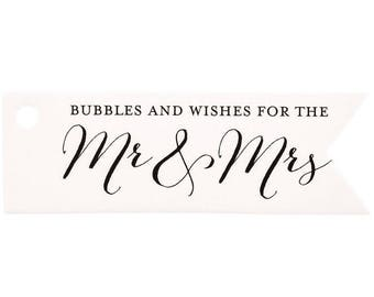 Mr. & Mrs. Bubble Wedding Decor Thank You Favor Gift Tags - Set of 100