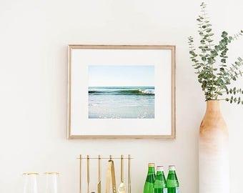 SALE Framed Beach Art, Framed Wall Art, Large Wall Art, Simple Wave, Ocean Decor, Nautical, Surf Decor, Wooden Frame, Framed Photograph