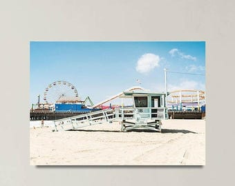SALE Canvas Art, Beach Decor, Beach Canvas Gallery Wrap, Los Angeles, Santa Monica, California Wall Art, Beach House, Lifeguard Tower