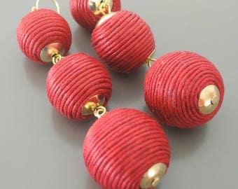 Pom Pom Earrings - Tiered Earrings - Statement Earrings - Red Earrings - Long Earrings - Gold Earrings - Boho Earrings - handmade