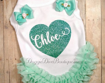 Dog T Shirt - Dog Top - Aqua Heart with your pets name - Custom Dog Shirt - XS, Small, Medium - with or without bows or ruffles