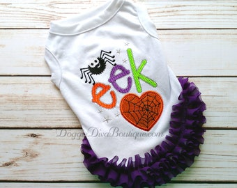 Sample Sale, Halloween Dog T Shirt, Dog Top, Dog Tee, Dog Halloween Costume, Dog Spider Shirt, Medium - with ruffles